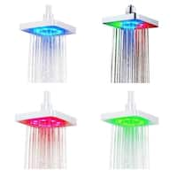 6 Inch Square 7 Colors Changing LED Rain Shower Head - Silver
