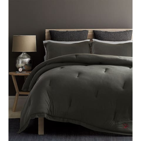 Beverly Hills Polo Club 3 Pieces Jersey Knit Comforter Set Twin Grey