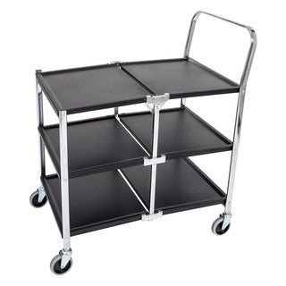 Offex 3 Shelf Black/ Chrome Collapsible Metal Service Utility Cart