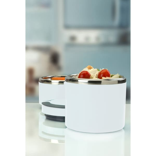 Round Twist 2 Tier Stainless Steel Insulated Lunch Box