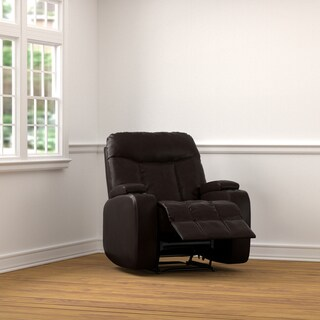 ProLounger Brown Renu Leather Power Wall Hugger Storage Recliner Chair