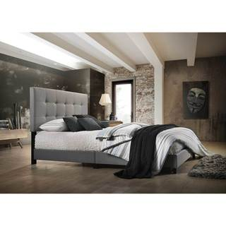 Aria Grey Fabric Upholstered Button-tufted Platform Bed