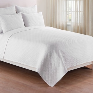 Basketweave White Quilt Set