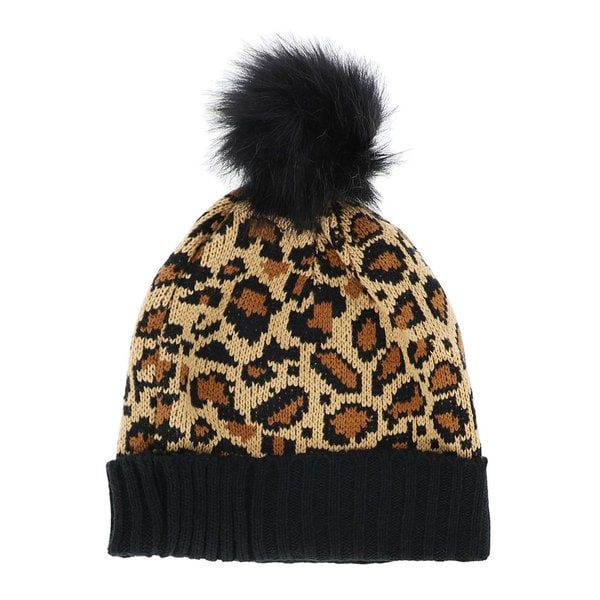 0ed836772f3 Shop LA77 Brown Leopard Beanie with Pom Pom - Free Shipping On Orders Over   45 - Overstock - 20059105