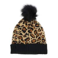LA77 Brown Leopard Beanie with Pom Pom