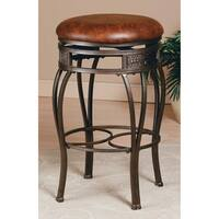 Hillsdale Montello KD Backless Brown Metal Faux Leather Swivel Counter Stool