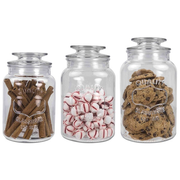 Home Basics Clear 3-piece Glass Lid Canister Set. Opens flyout.