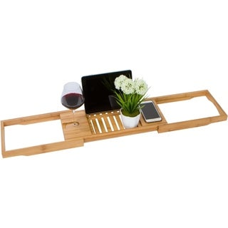 "28"" Adjustable Bamboo Bath Tub Caddy and Organizer Tray by Trademark Innovations"