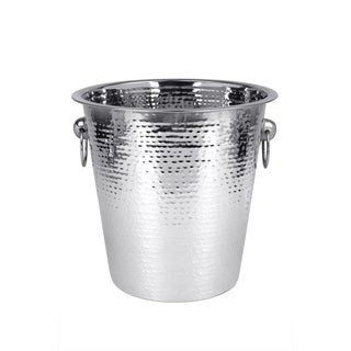 Home Basics Silver Stainless Steel Hammered Ice Bucket
