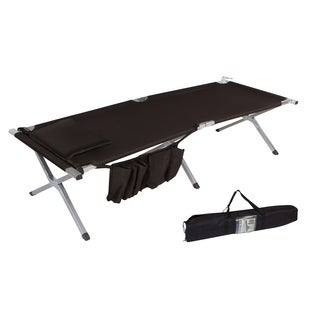 "75"" Portable Folding Camping Bed & Cot With Pillow & Side Storage Pocket - 260 lbs. Capacity By Trademark Innovations (Black)"