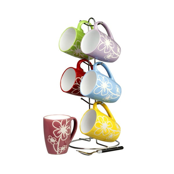 Home Basics Multicolor 6-piece Daisy Mug Set and Stand. Opens flyout.
