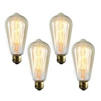 Medium Elongated Vintage Edison Incandescent Light Bulbs (4 Pack)
