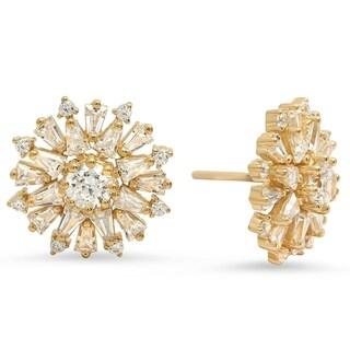 Pori Jewelers Flower Stud Earrings wBaguette-cut Cubic Zirconia in Sterling Silver