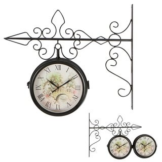 "7.5"" Double Sided Vintage Wrought Iron Wall Hanging Clock by Trademark Innovations"