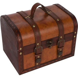 """10"""" Wood and Leather  Decorative Chest By Trademark Innovations"""