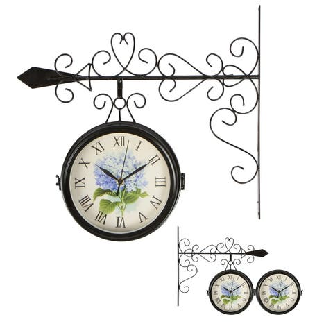 """7.5"""" Diameter Double Sided Vintage Wrought Iron Wall Hanging Clock by Trademark Innovations"""