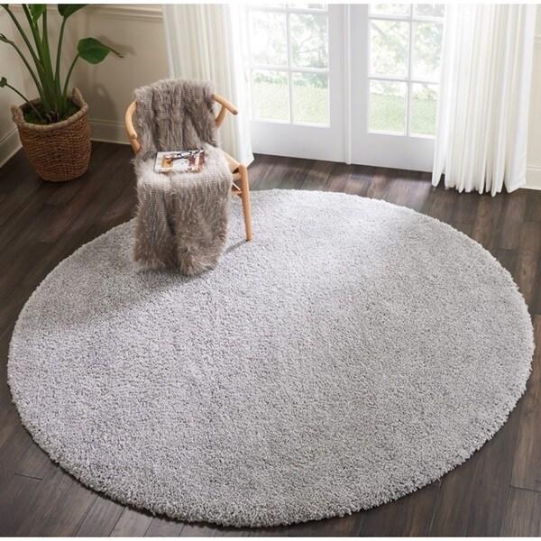 Nourison Malibu Silver Grey Solid Shag Round Rug (6'7 Round) - 6' Round