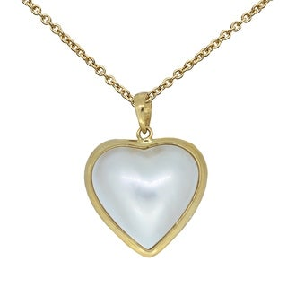 Kabella 14kt Yellow Gold Heart Shaped Mabe Pendant - White