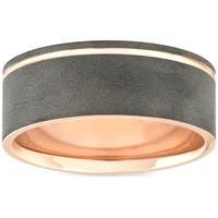 Bliss 14k Rose Gold Black Brushed Finish Mens 7MM Comfort Fit Ring Wedding Band - White