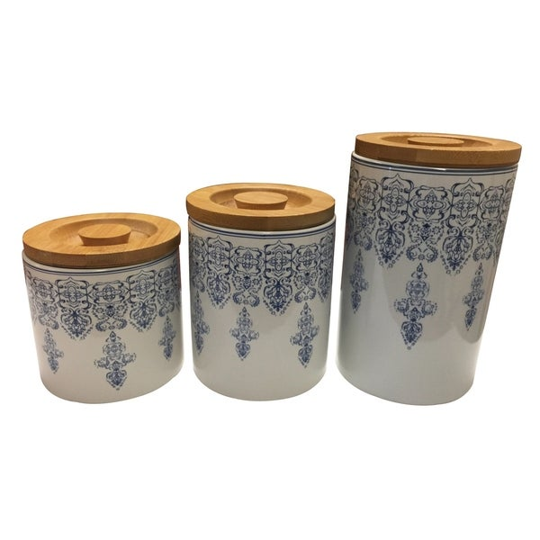 incredible Park Design Canister Set Part - 11: Le Chef Ceramic Storage Canisters set of 3
