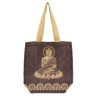 Handmade Metallic Buddha Jute Tote - Mocha Brown (India)