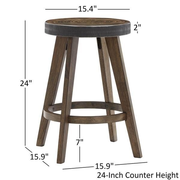 Wondrous Shop Lane Rustic Walnut Finish Stools Set Of 2 By Inspire Theyellowbook Wood Chair Design Ideas Theyellowbookinfo