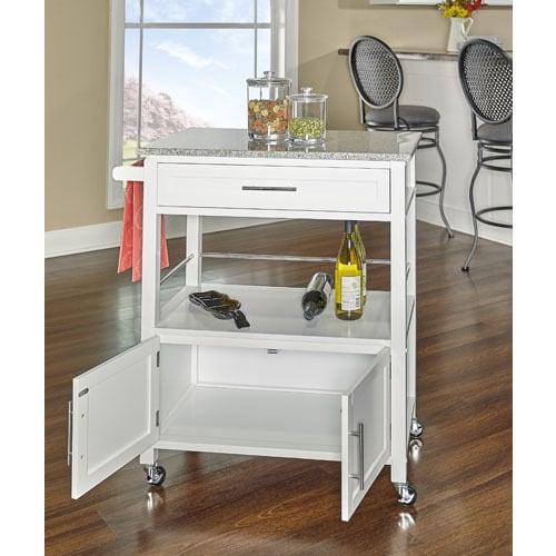 Barbara White Kitchen Cart With Granite Top