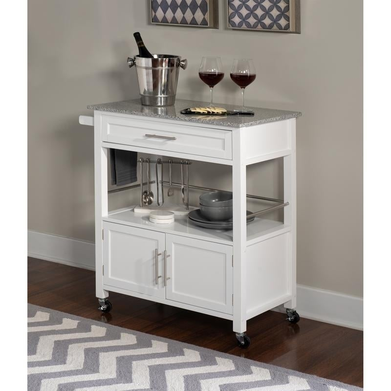 Porch & Den Bigelow White Wood/ Granite Top Kitchen Cart