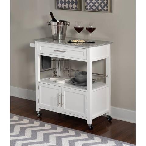 Barbara White Kitchen Cart with Granite Top - N/A
