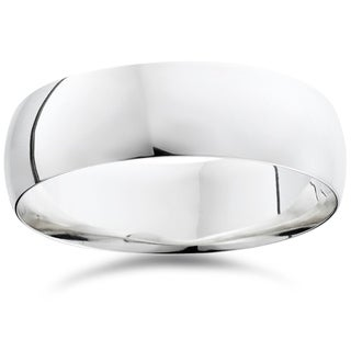 Bliss 950 Platinum Plain High Polished Ring 7mm Dome Wedding Band - White
