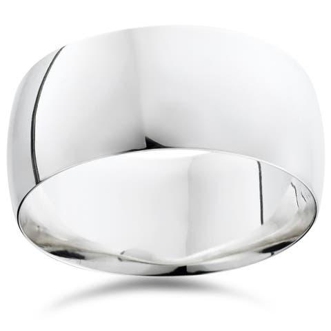 Pompeii3 950 Platinum Plain High Polished Ring 10mm Dome Wedding Band - White
