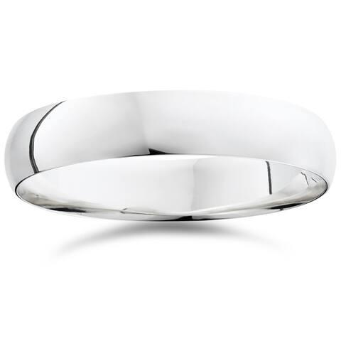 Pompeii3 950 Platinum Plain High Polished Ring 5mm Dome Wedding Band - White