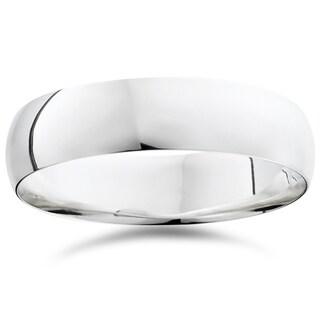 Bliss 950 Platinum Plain High Polished Ring 6mm Dome Wedding Band - White