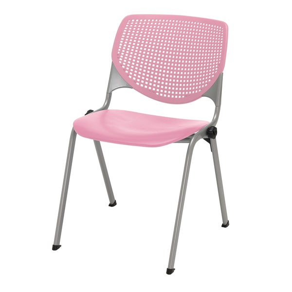 KFI KOOL Poly Stack Chair with Perforated Back, Pink. Opens flyout.