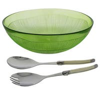 French Home 3 Piece Laguiole Salad Set - Apple Green