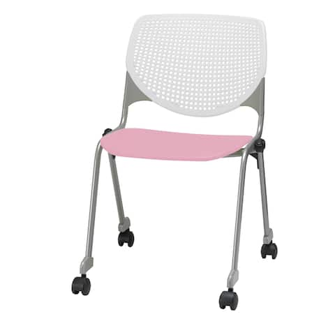 KFI KOOL Poly Stack Chair with Casters, White Back, Pink Seat