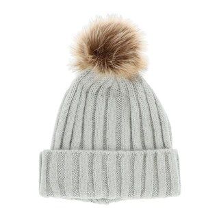 LA77 Solid Color Knit Beanie with Faux Fur Pom Pom