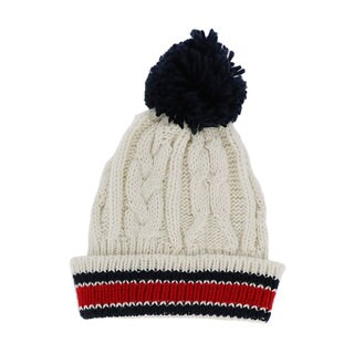 LA77 Cream Striped Knit Pom Pom Beanie