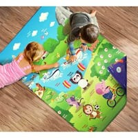 Reversible Animals Day in the Park Kids Playmat Area Rug (3 ft. 3 in. x 4 ft. 7 in.) - Multi-color