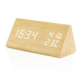 Gearonic Wooden Alarm Clock Wood LED Digital Desk Clock Time Humidity (3 options available)