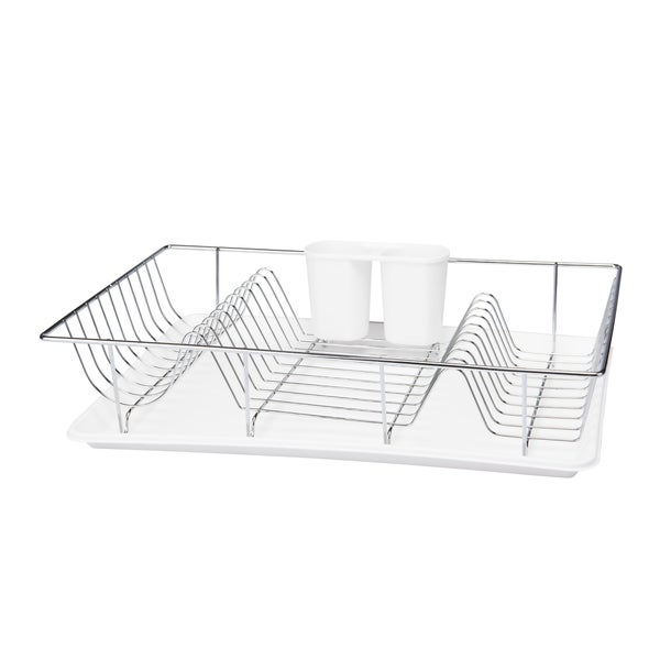 3Pc Chrome Dishrack W/ Tray -White