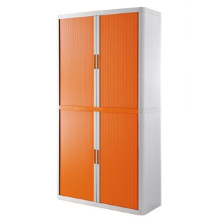 """Paperflow EasyOffice Storage Cabinet, 80"""" Tall with Four Shelves (Option: White/orange)"""