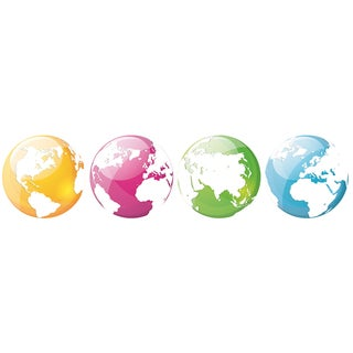 "Paperflow Office Deco Wall Transfers, Colorful Globes 6.5"" 4pk"
