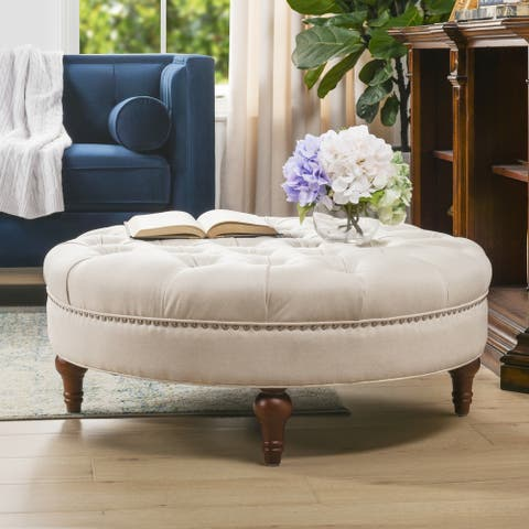 Lana Tufted Round Ottoman by Jennifer Taylor Home