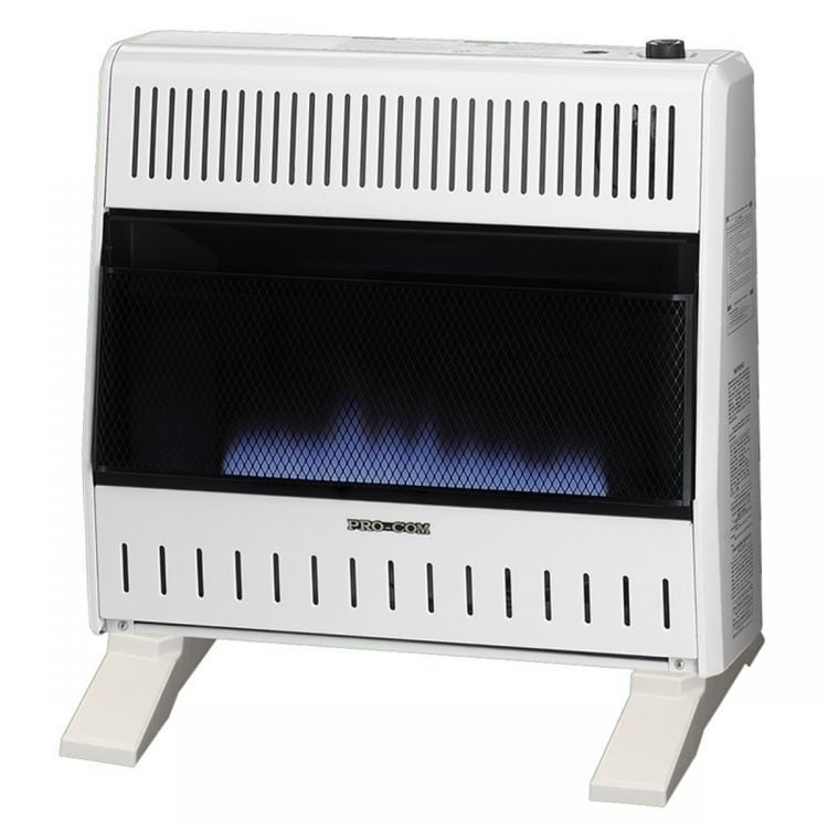 Procom Dual Fuel Ventless Blue Flame Heater - 30,000 BTU,...