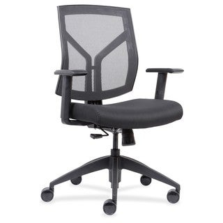 Lorell Mid-Back Chairs with Mesh Back & Fabric Seat