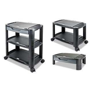 Alera 3-in-1 Black/Gray Storage Cart and Stand, 21 5/8 in w x 13 3/4 in d x 24 3/4 in h
