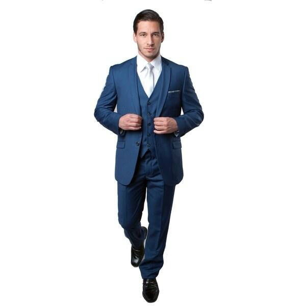 Mens Suit 3 Pcs. Slim Fit Solid Slanted Pocket Suit