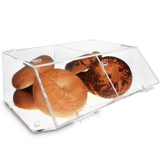 Ikee Design Acrylic Stackable Bakery Display Case Storage w/ A Hinged, Slanted Door & A Divider