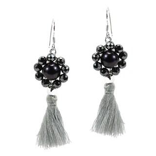 Smoky Cultured Freshwater Black Pearl Tassel Drop Dangle Earrings